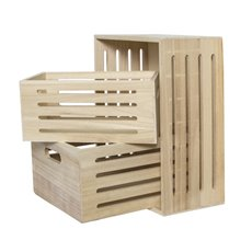 Wooden Crates & Boxes - Wooden Crate Box Stripes Natural (40x30x18cmH) Set 3
