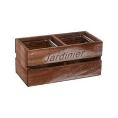 Wooden Crate With 2 Pots 24x12x12cmH Brown
