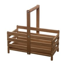 Wooden Crate with Handle Rectangle Brown (30x15x16cmH)