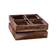 Wooden Planters Pot Covers - Wooden Crate With 4 Pots 24x24x12cmH Brown