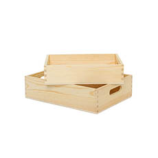 Wooden Crates & Boxes - Premium Wooden Crate Box Tray Natural Small Set 2 31x23x8cmH