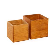 Wood Pot Square 15x15x15cmH Set of 2 Natural