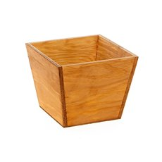 Wooden Planters Pot Covers - Wood Pot Square Taper 16x16x13cmH Natural