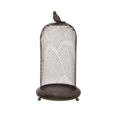 Metal Mesh Cloche Bird Decor Antique Grey (20cmDx35cmH)