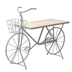 Merchandising Displays - Bicycle Display Bench Charcoal Metal with Pine 153x51x109cmH