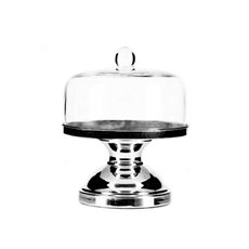 Cake Stand with Dome Cover 24cmx26.5cmH  Silver
