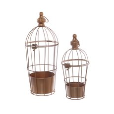 Wedding Birdcage with Flower Tray Set of 2 Copper (17x40cmH)