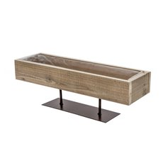 Wooden Planters Pot Covers - Wood Planter Tray with Metal Stand Natural (42x12x13cmH)