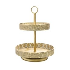 Cake Stands - Vintage Metal Cake Stand 2 Tiers Gold (34x47cmH)