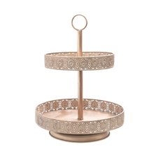 Cake Stands - Vintage Metal Cake Stand 2 Tiers Rose Gold (34x47cmH)