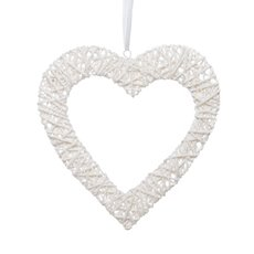 Natural Woven Hanging Heart Hollow Style White (36cm)