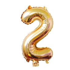 Foil Balloons - Air Fill Foil Balloon Number 2 Gold (16 or 40cm)