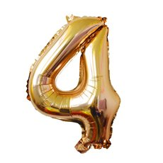 Foil Balloon Air Fill 16 (40.6cm) Number 4 Gold