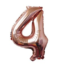 Foil Balloons - Foil Balloon Air Fill 16 (40.6cm) Number 4 Rose Gold