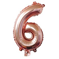 Foil Balloons - Foil Balloon Air Fill 16 (40.6cm) Number 6 Rose Gold