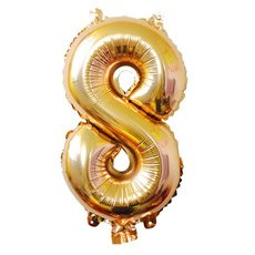 Foil Balloons - Air Fill Foil Balloon Number 8 Gold (16 or 40cm)