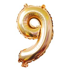 Foil Balloons - Air Fill Foil Balloon Number 9 Gold (16 or 40cm)