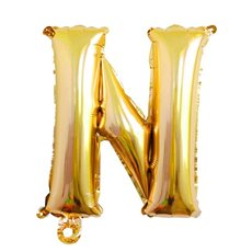 Foil Balloon Air Fill 16 (40.6cm) Letter N Gold