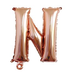 Foil Balloons - Foil Balloon Air Fill 16 (40.6cm) Letter N Rose Gold