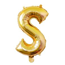 Foil Balloons - Foil Balloon Air Fill 16 (40.6cm) Letter S Gold