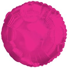 Foil Balloon 17 (42.5cm Dia) Round Hot Pink
