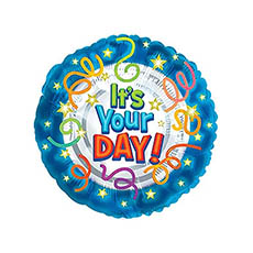 Foil Balloons - Foil Balloon 17(42.5cmD) Its Your Day! Star and Streamers