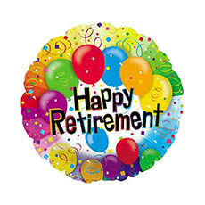 Foil Balloons - Foil Balloon 17 (42.5cm Dia) Round Happy Retirement Balloon