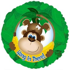 Foil Balloon 17 (42.5cm Dia) Round Hang in There Monkey