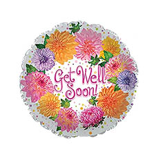 Foil Balloons - Foil Balloon 17(42.5cm Dia) Get Well Soon Flowers