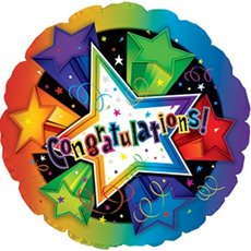 Foil Balloon Round 17 Congratulations with Stars