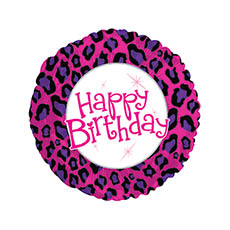 Foil Balloon 17  Round Happy Birthday Animal Print