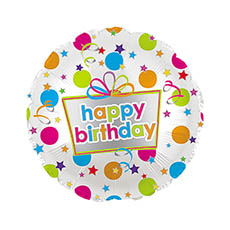 Foil Balloons - Foil Balloon 17 (42.5cm Dia) Round Happy Birthday Dots