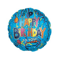 Foil Balloons - Foil Balloon 17 (42.5cm Dia) Happy Birthday To You Blue