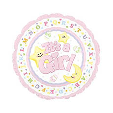 Foil Balloons - Foil Balloon 17 (42.5cm Dia) Its A Girl Moon & Stars Pink