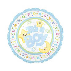 Foil Balloons - Foil Balloon 17 (42.5cm Dia) Its A Boy Moon & Stars Blue