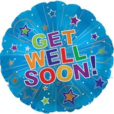 Foil Balloons - Foil Balloon 17 (42.5cm Dia) Round Get Well Soon Blue