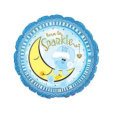Foil Balloons - Foil Balloon 17 (42.5cm Dia) Born to Sparkle Blue