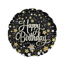 Foil Balloons - Foil Balloon 17 (42.5cm Dia) Happy Birthday Stars Black