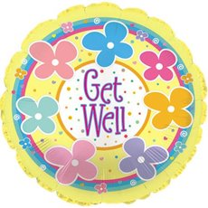 Foil Balloon 17  Round Get Well Pastel Flowers