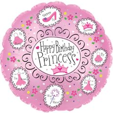 Foil Balloon 17 (42.5cm Dia) Round Birthday Princess Pink