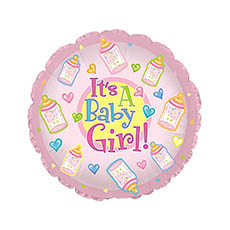 Foil Balloons - Foil Balloon 17 (42.5cm Dia) Its A Baby Girl with Bottles