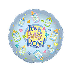 Foil Balloon 17 (42.5cm Dia) Its A Baby Boy with Bottles