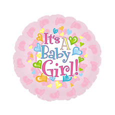 Foil Balloons - Foil Balloon 17 (42.5cm Dia) Its A Baby Girl Footprints