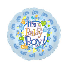Foil Balloons - Foil Balloon 17 (42.5cm Dia) Its A Baby Boy Footprints