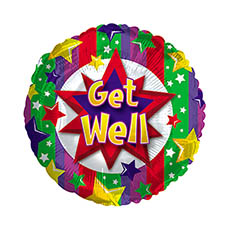 Foil Balloon 17 (42.5cm Dia) Round Get Well Stars & Stripes