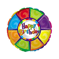 Foil Balloons - Foil Balloon 17 (42.5cm Dia) Round Happy Birthday Wheel