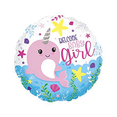Foil Balloons - Foil Balloon 17 (42.5cm Dia) Welcome Baby Girl