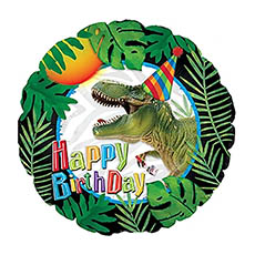 Foil Balloons - Foil Balloon 17 (42.5cm Dia) Happy Birthday Dinosaur