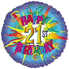 Foil Balloons - Foil Balloon 17 (42.5cm Dia) Round Happy 21st Birthday