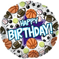 Foil Balloon 17 (42.5cm Dia) Happy Birthday Sports Theme